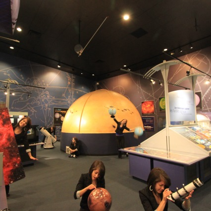 Student in an astronomy museum in British Columbia