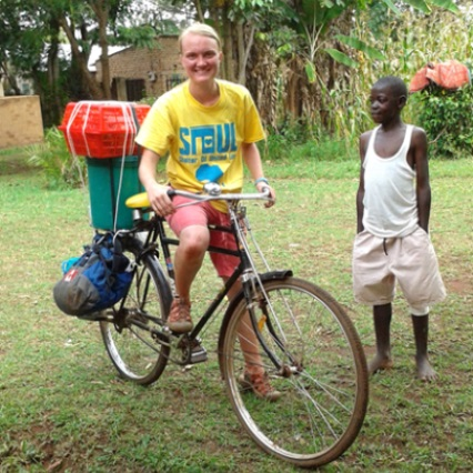 Student on a bike in Kenya