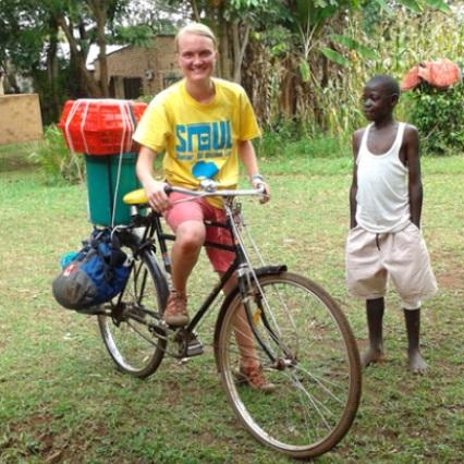Student on a bike in Kenya